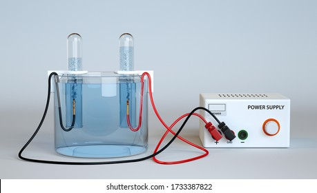 Electrolysis of Water. Oxygen and Hydrogen Production with test tubes. 3d rendering.