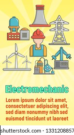 Electromechanic concept banner. Cartoon banner of electromechanic concept for web, giftcard and postcard