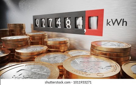 Electrometer is measuring power consumption. Coins in foreground. Expensive electricity concept. 3D rendered illustration.