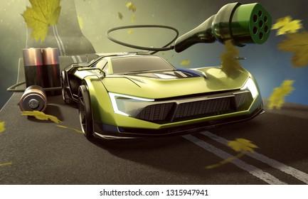Electromobility (3D rendering)