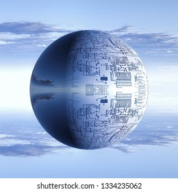 electronic  bubble on a sky background 3D illustration