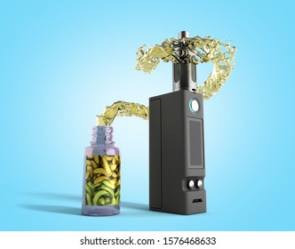 Electronic cigaretts Device box mod to smokeless smoking 3d render on blue gradient