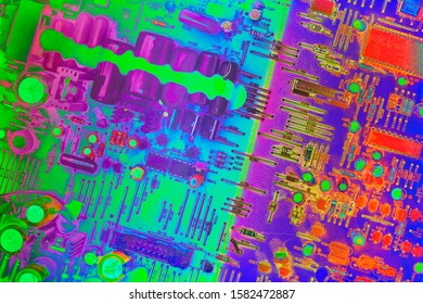 Electronic Circuit Board Multicolored Background