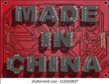 "Electronic circuit board with text ""Made in China"". 3d illustration."