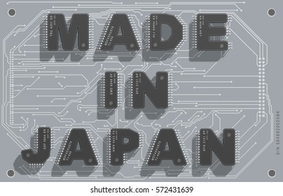 "Electronic circuit board with text ""Made in Japan"". 3d illustration."