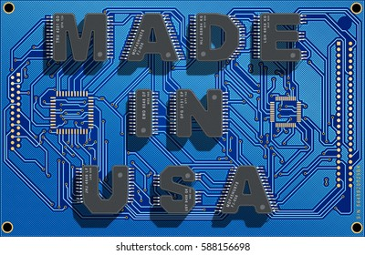 "Electronic circuit board with text ""Made in USA"". 3d illustration."