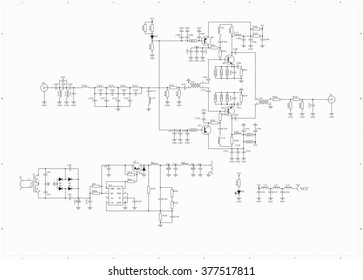 Electronic circuit schematic radio frequency amplifier