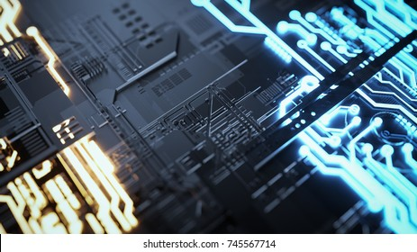 Electronic circuitry with gold on black background. 3d render and illustration.