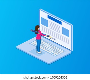 Electronic contract or digital signature concept. Business Woman puts signature. Flat 3d web isometric contract signature infographic concept. illustration in flat style raster version