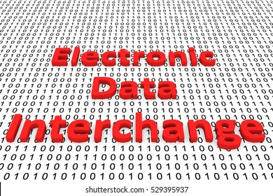 Electronic data interchange in the form of binary code, 3D illustration