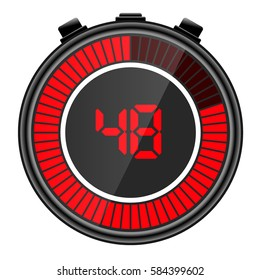 Electronic digital stopwatch illustration. Showing 48 seconds remaining
