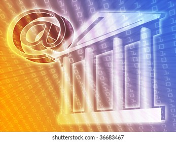 Electronic government, e-government illustration with at symbol