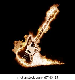 Electronic guitar enveloped flames on a black background