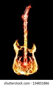 Electronic guitar flames on a black background.