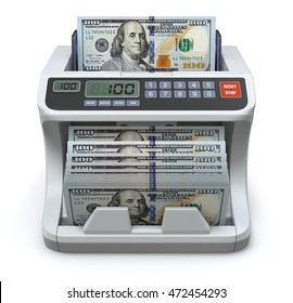 Electronic money counter with new hundred dollars banknotes - 3D illustration