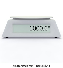 Electronic scales show 1000 grams, on a white isolated background. There is a free space for your design. 3D illustration