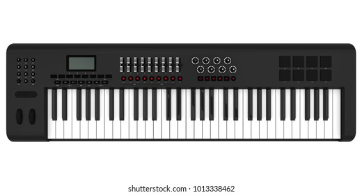 Electronic Synthesizer Piano Keyboard Isolated. 3D rendering