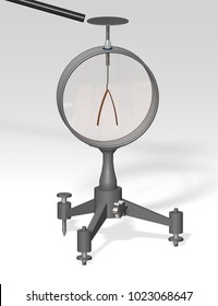 Electroscope. Used in physics education to demonstrate the principles of electrostatics. 3D illustration on a gray background.