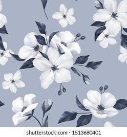 Elegance monochrome seamless pattern with white apple flowers