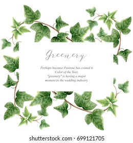 Elegance rectangular border with green ivy on white background. Watercolor botanical banner.