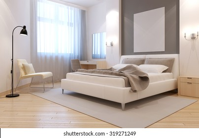 Elegant avangard bedroom interior. Bright room with niche behind bed, two sconces above bedside tables, and large light grey carpet. 3D render