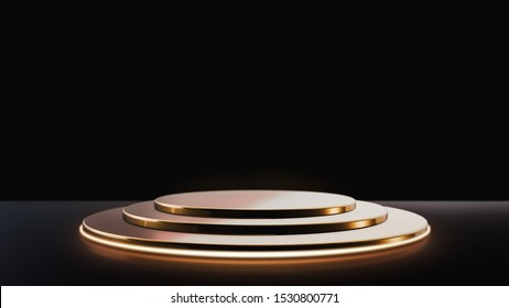 Elegant background with a pedestal ,Golden empty Product stand with neon light on black background ,3d rendering.