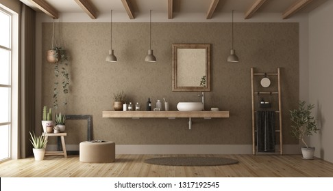 Elegant bathroom with washbasin on wooden shelf - 3d rendering