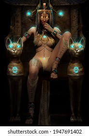 An elegant, beautiful Egyptian empress sits impressively on a sand throne with mystical cats, playfully looking directly at the viewer. she has a beautiful smooth body 3D illustration
