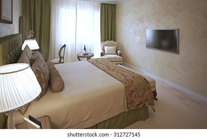 Elegant bedroom classic design. The interior of hotel rooms with walls with decorative Venetian plaster, vintage furniture, curtains and dressed bed  in olive green. 3D render