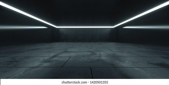 Elegant Big Hall Concrete Glossy Underground Showroom Garage Gallery Hallway Tunnel Corridor Studio White Lights Stripe Empty Dark Grunge 3D Rendering Illustration