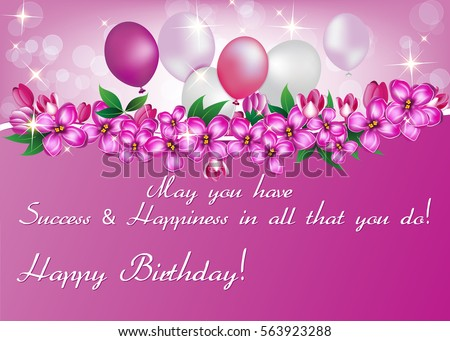 Elegant Birthday Card Also For Print Happy Greeting Contains Balloons Flowers And Presents Size Of A Business Colors