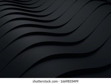 Elegant black background with flowing lines. Minimal geometric curve dynamic shapes composition. Wavy background abstract papercut decoration 3D rendering