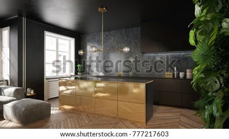 Elegant Black Gold Kitchen Interior 3 Stock Illustration 777217603