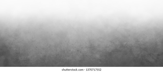 Elegant black and gray background with faint blurred mottled bokeh texture in an abstract design with white gradient fog of haze on top border