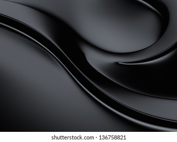 Elegant black metallic background with curves and space for text