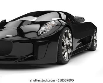 Elegant black super sports car - headlight closeup shot - 3D Illustration