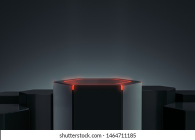 Elegant Blank product stand with light and glow. Hexagon platform for design. Pedestal for display. Futuristic concept background. 3D rendering