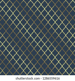 Elegant blue and gold quatrefoil pattern. Gold quatrefoil background. Digital scrapbook paper. Design elements for birthday invitations, cards, scrapbook pages, stickers and more.