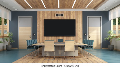 Elegant boardroom with large meeting table,two doors and flat screen on background - 3d rendering