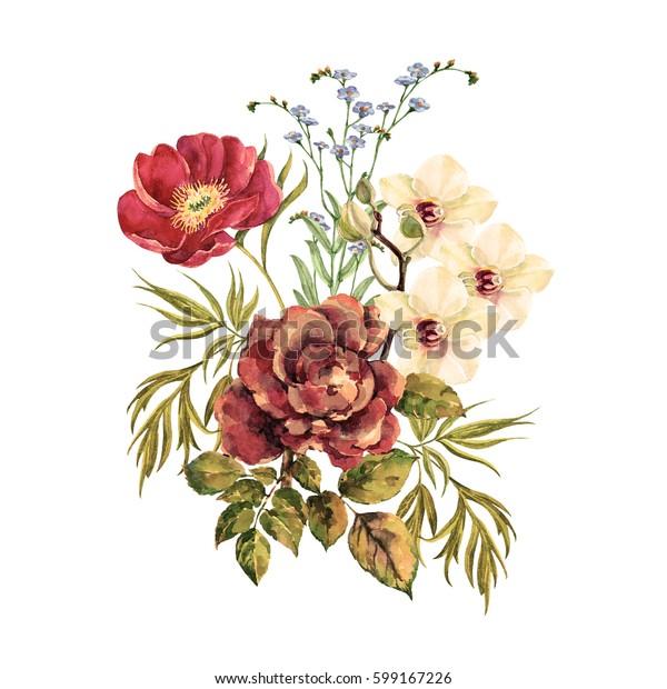 Elegant Bouquet Watercolor.