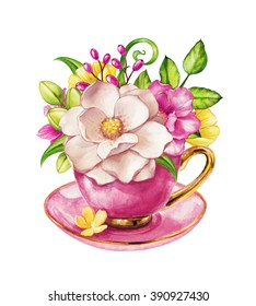 elegant bunch of flowers, magnolia in the tea cup, watercolor shabby chic illustration isolated on white background