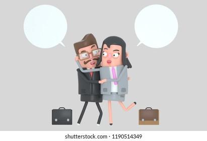 Elegant business couple in love. 3d illustration