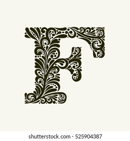 Elegant capital letter F in the style of the Baroque. To use monograms, logos, emblems and initials