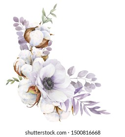 Elegant card in vintage watercolor style. This bouquet is made from flowers of anemones, cotton and twigs. It can be used for greeting card, invitation, wedding card, poster, mother's Day Card.
