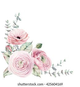 Watercolor Flowers Corner Elegant Card In Vintage Style It Can Be Used For Birthday Invitation