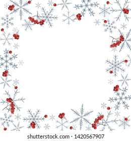 Elegant Christmas frame with snowflakes and rowan berries. Watercolor hand painted elements on white background.
