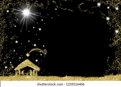 Elegant Christmas Nativity Scene greetings cards, abstract freehand drawing of  Holy Family with golden glitter, black and gold  background with blank.