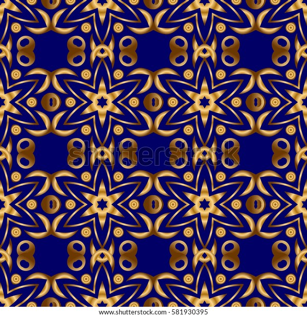 Elegant Christmas Poster Template with Golden Elements. Seamless pattern with Luxury Ornament On a blue Background.