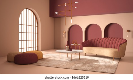Elegant classic living room with archways and arched window and door. Red sofa with poufs, carpet, pendant lamp, coffee tables, vases, decors. Modern interior design idea, 3d illustration