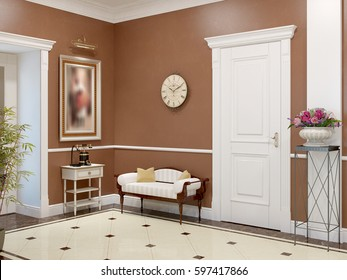 Elegant classic and luxurious hall interior design with brown walls, beige marble floor, white doors and white plaster moldings. 3d render